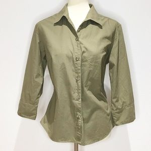 Columbia Khaki Green Button Down Blouse. Large.